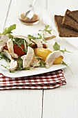 Rocket and pepper salad with roast chicken breast