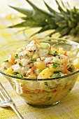 Fish, cucumber & pineapple salad with coconut milk & coriander