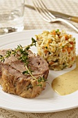 Roast pork with anchovy sauce and vegetable rice
