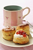 Scones with clotted cream, jam and tea