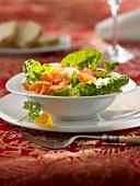 Römersalat mit Fenchel, Karotten, Schinken, Orangendressing