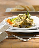 Vegetable and chestnut terrine with rosemary dressing