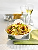 Pineapple and poultry meat salad with red pepper