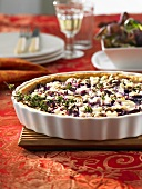 Red cabbage and goat's cheese quiche with thyme