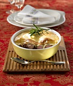 Lamb goulash with mashed parsnip topping
