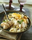 Cod rolls with sauerkraut, potatoes and horseradish