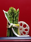 Green asparagus with baby sweetcorn & a slice of lotus root