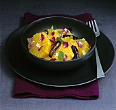 Orange and chilli salad with rose petals and mint