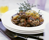 Beef and bacon ragout with herb dumpling