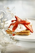 Puff pastry with whipped cream and strawberries