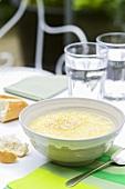 Egg drop soup with baguette