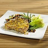 Marinated, seared tuna on lentils with pak choi