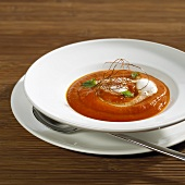 Tomato and papaya soup with vanilla milk foam