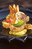 Fried chermoula prawns on saffron rice
