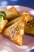 Almond briouats with honey & sesame seeds (pastries, Morocco)
