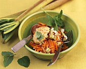 Carrot and rhubarb salad with peanut butter and lemon balm