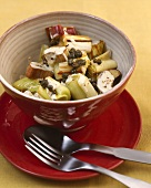 Leeks and rhubarb in mustard and caper sauce