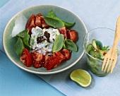 Tomato & cucumber salad with olive & yoghurt dressing & basil