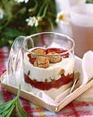 Strawberry trifle with almond macaroons in a jar