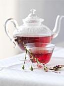 Rose tea in teapot and tea bowl