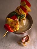 Fried chicken kebab with garlic sauce