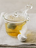 Herbal tea in glass pot and herbs in tea bag
