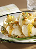 Cauliflower with buttered breadcrumbs and chives