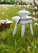 Soup tureen on a stool under flowering fruit tree