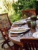 Laid table on a terrace