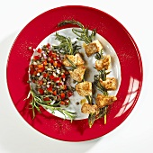 Grilled chicken on rosemary skewers with lentil salad