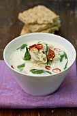 Chicken coconut soup with spinach, lemon grass and chilli