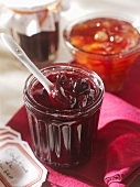 Cherry and sour cherry jam in jars