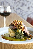 Beef steak with sweetcorn and potato gratin