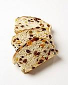 Three slices of fruit bread