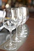 Wine glasses on a bar