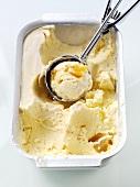 Vanilla ice cream with ice cream scoop in container