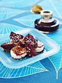 Goat's cheese with beetroot, sesame seeds & pumpkin seed oil