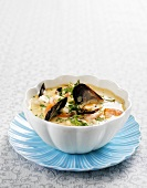 Bouillabaisse with prawns, shellfish and saffron