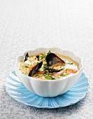 Bouillabaisse with prawns, shellfish and saffron