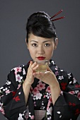 Japanese woman drinking tea