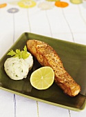 Fried salmon fillet with coriander mashed potato