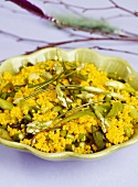 Millet salad with saffron, spring onions and herbs