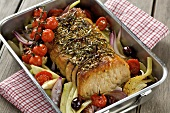 Arrosto di maiale (Roast pork with vegetables and herbs)