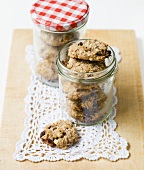 Banana, oat and raisin biscuits in jars