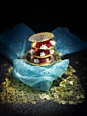 Millefeuille made with brik pastry, poppy seeds & raspberries