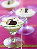 Chocolate truffles in almond cream in three glasses