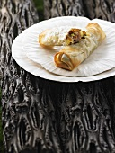 Spring rolls filled with king oyster mushrooms & vegetables