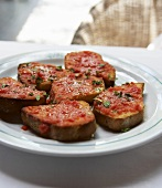 Bruschetta with pureed tomatoes and olive oil
