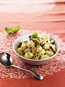 Gnocchi with shellfish and basil pesto