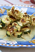 Grilled chicken & courgette kebabs with coconut curry sauce